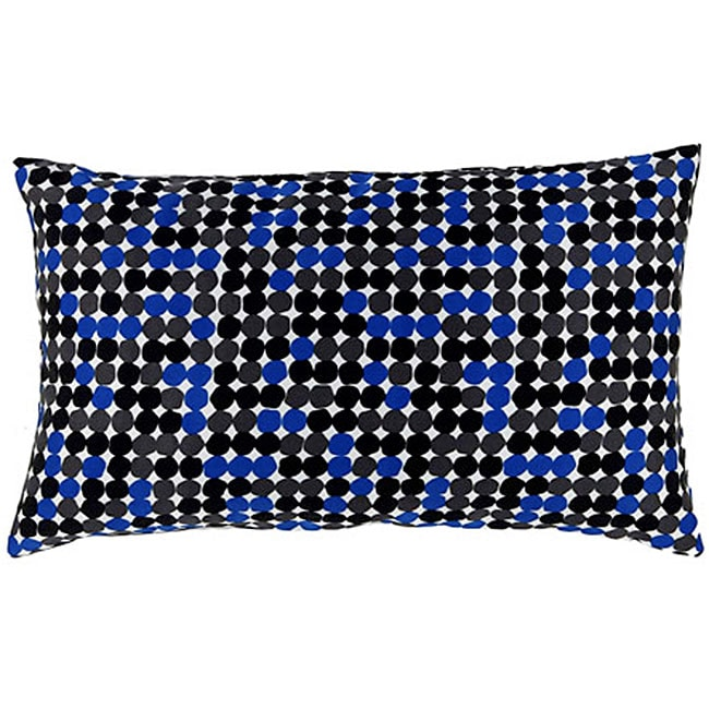 Faux Silk Black and Blue Dot Decorative Down Pillow