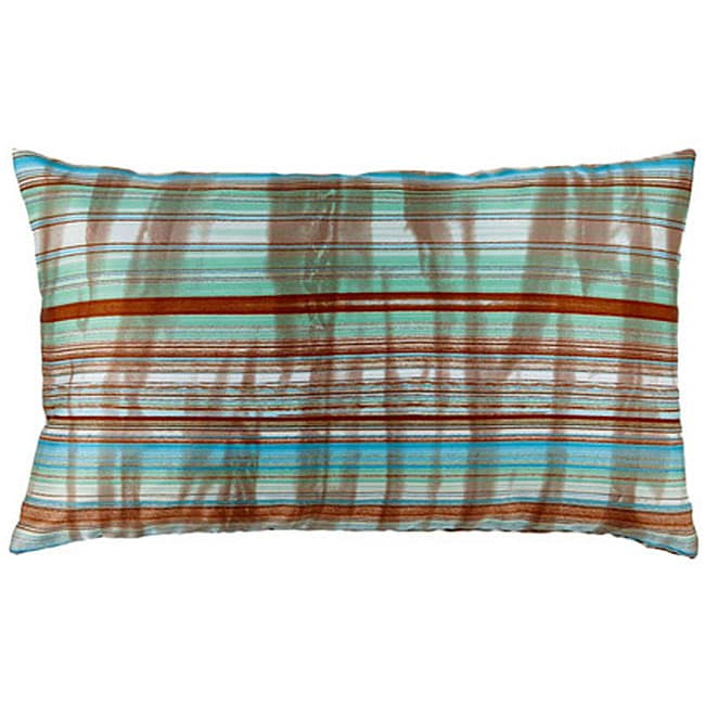 Faux Silk Turquoise and Green Striped Decorative Pillow