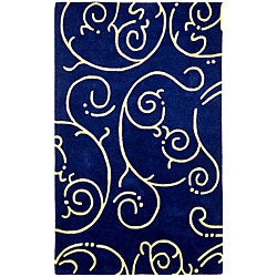 Hand-tufted Blue Archer Wool Rug (5' x 8')