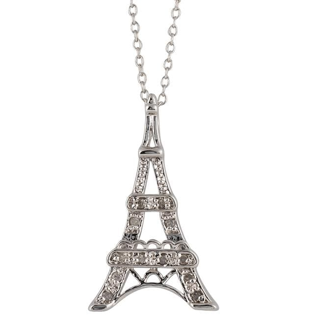Sterling Silver 1/10ct TDW Diamond Eiffel Tower Necklace (I-J, I3)