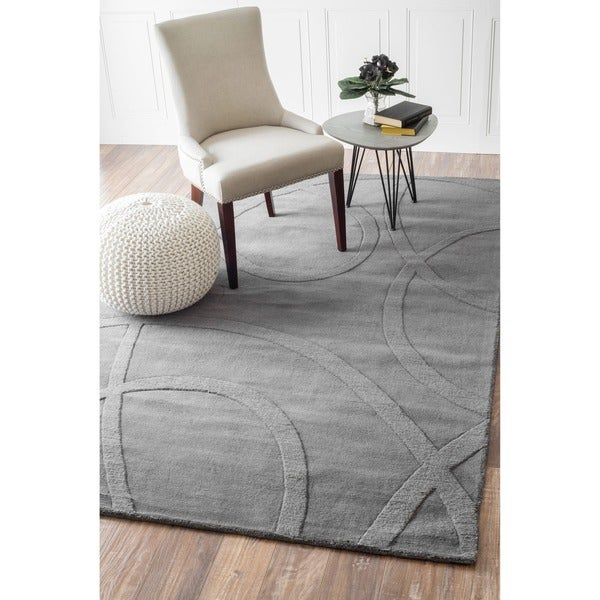 nuLOOM Handmade Neutrals and Textures Ribbons Wool Rug (7'6 x 9'6)