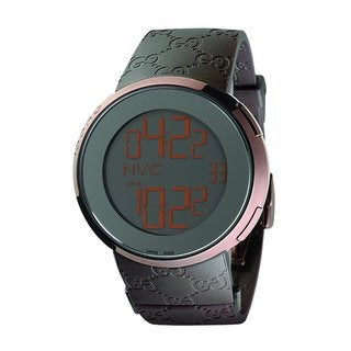 Gucci Men's '114 I-Gucci' Brown GG Rubber Digital Watch