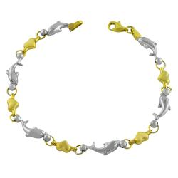Fremada 10k Two-tone Gold Heart and Dolphin Link Bracelet
