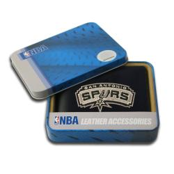 San Antonio Spurs Men's Black Leather Bi-fold Wallet