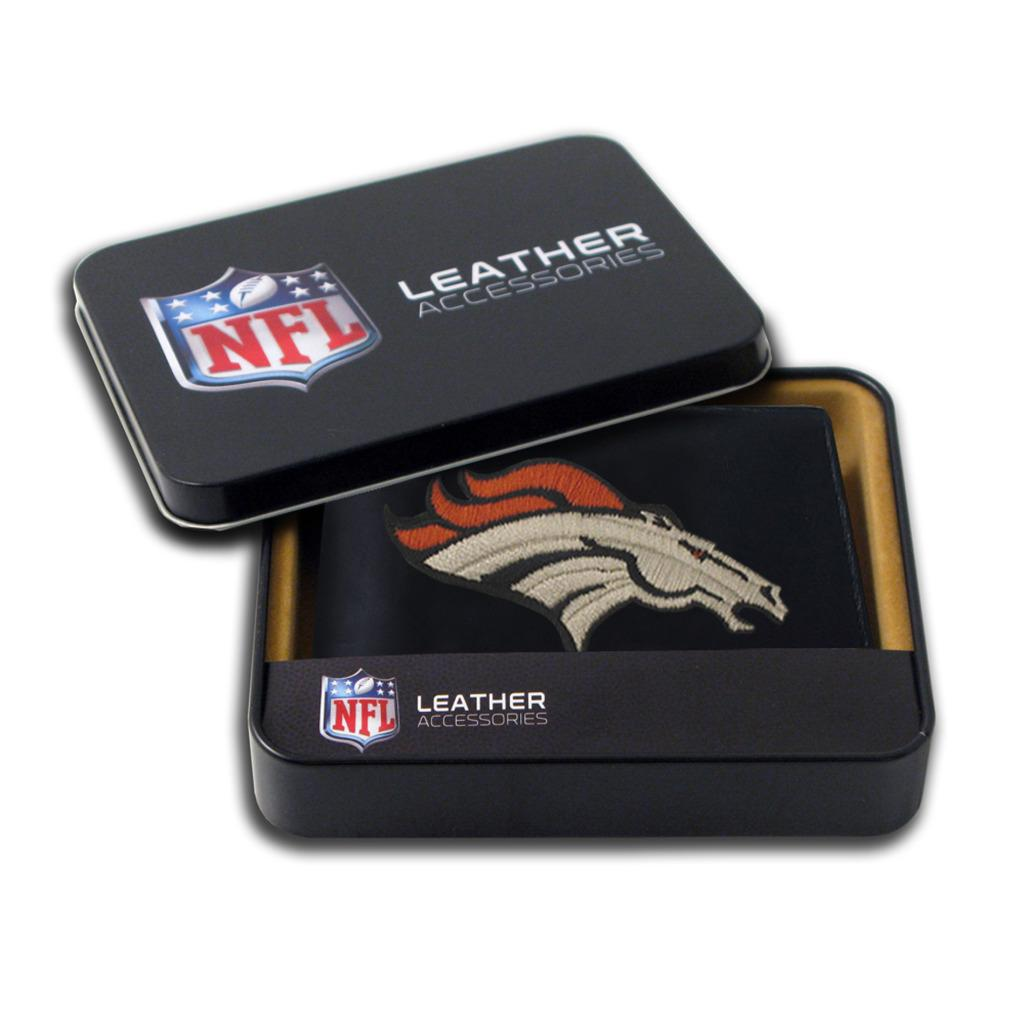 Denver Broncos Men's Black Leather Bi-fold Wallet