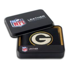 Green Bay Packers Men's Black Leather Bi-fold Wallet