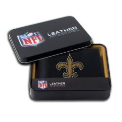 New Orleans Saints Men's Black Leather Bi-fold Wallet