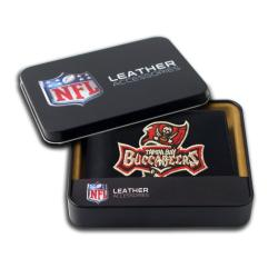 Tampa Bay Buccaneers Men's Black Leather Bi-fold Wallet