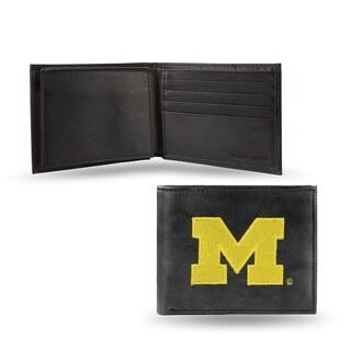 Michigan Wolverines Men's Black Leather Bi-fold Wallet