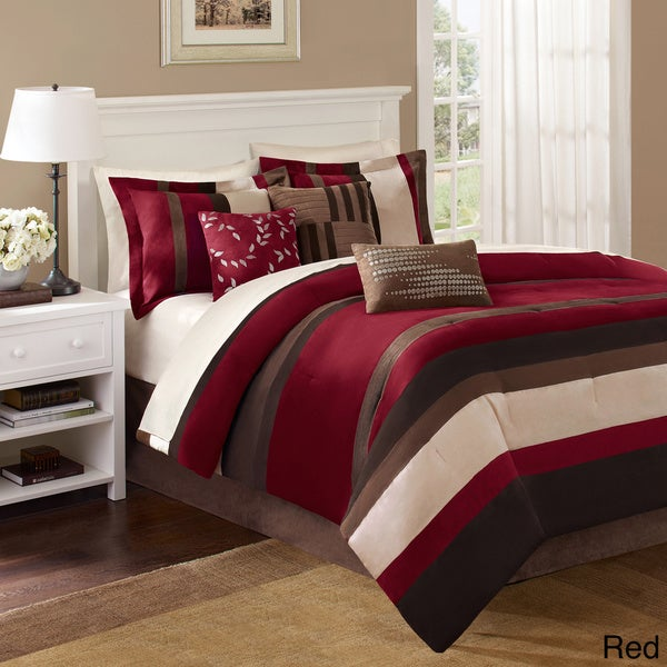 King Sized Red And Tan Bedding