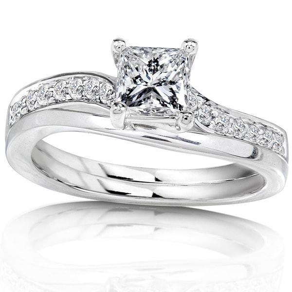 Annello 14k White Gold 3/4ct TDW Diamond Bridal Ring Set (H-I, I1-I2)