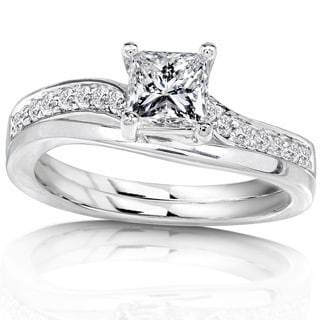 Annello 14k White Gold 3/4ct TDW Diamond Bridal Ring Set (H-I, I1-I2) with Bonus Item