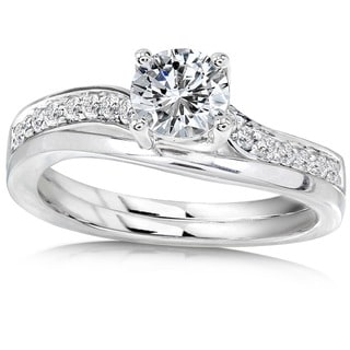 Annello 14k White Gold 3/4ct TDW Diamond Bridal Ring Set (H-I, I1-I2) with Bonus Item
