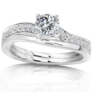 Annello 14k White Gold 1/2ct TDW Diamond Bridal Ring Set (H-I, I1-I2)