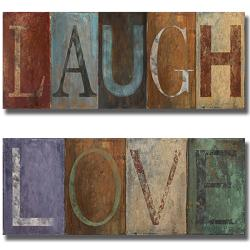 Patricia Pinto 'Laugh and Love' 2-piece Canvas Art Set