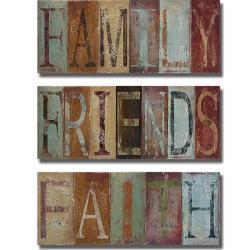 Patricia Pinto 'Family, Friends, and Faith' 3-piece Canvas Art Set
