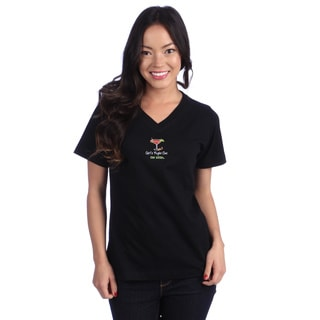 Women's 'Girl's Night Out' Black V-neck Tee