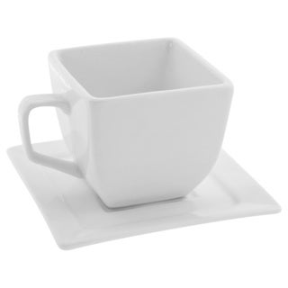 Whittier White 4-oz Square Cup and Saucers (Set of 4)