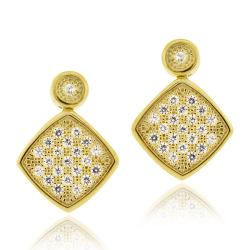 Icz Stonez 18k Gold over Silver Micro Pave Cubic Zirconia Diamond-shaped Earrings