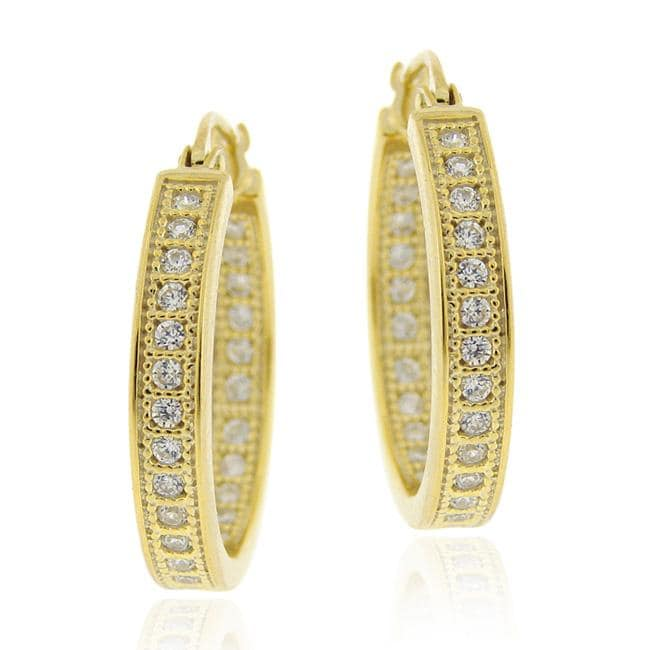 Icz Stonez 18k Gold over Silver Micro Pave Cubic Zirconia Hoop Earrings