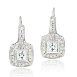 Icz Stonez Sterling Silver Cubic Zirconia Square Leverback Earrings