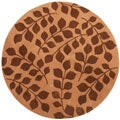 Hand-tufted Brown Floral Wool Rug (6' Round)