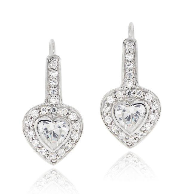 Icz Stonez Sterling Silver Cubic Zirconia Heart Leverback Earrings