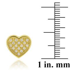 Icz Stonez 18k Gold over Silver Micro Pave Cubic Zirconia Heart Earrings