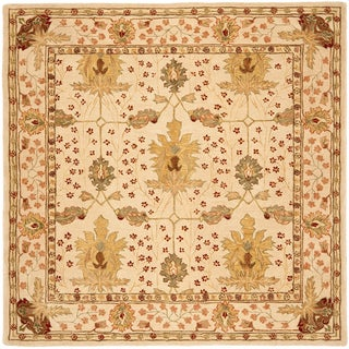 Handmade Oushak Ivory Wool Rug (8' Square)