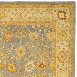 Handmade Oushak Slate Blue/ Ivory Wool Rug (9'6 x 13'6)
