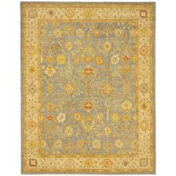 Handmade Oushak Slate Blue/ Ivory Wool Rug (8'3 x 11')