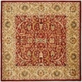 Handmade Heritage Treasures Red/ Gold Wool Rug (8' Square)