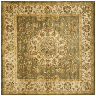 Safavieh Handmade Heritage Taupe/ Ivory Wool Rug (8' Square)