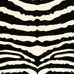 Lyndhurst Collection Zebra Black/ White Rug (3'3 x 5'3)