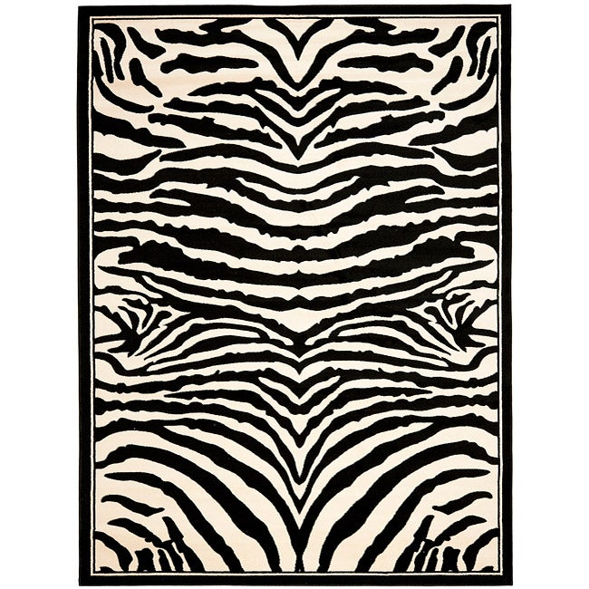 Safavieh Lyndhurst Collection Zebra Black/ White Rug (4' x 6')