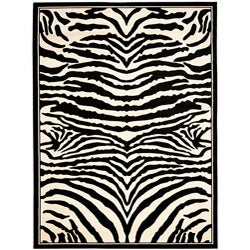 Safavieh Lyndhurst Collection Zebra Black/ White Rug (4' x 6')
