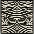 Lyndhurst Collection Zebra Black/ White Rug (6' Square)
