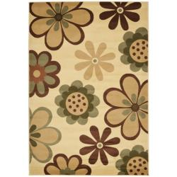 Fine-spun Dasies Floral Ivory/ Green Area Rug (6'7 x 9'6)