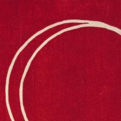 Handmade Rodeo Drive Circle of Life Red/ Ivory N.Z. Wool Rug (8' Square)