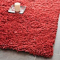 Hand-woven Bliss Rusty Red Shag Rug (7' Square)