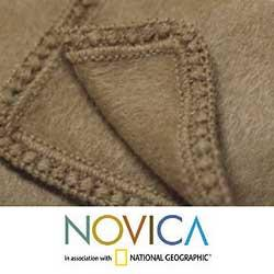 'Hot Latte' Alpaca Wool Throw Blanket (Peru)