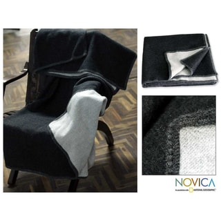 'Moonlit Winter's Night' Alpaca Wool Reverisble Blanket (Peru)