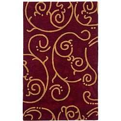 Hand-tufted Burgundy Wool Rug (8' x 11')