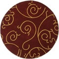 Hand-tufted Burgundy Abstract Wool Rug (8' Round)