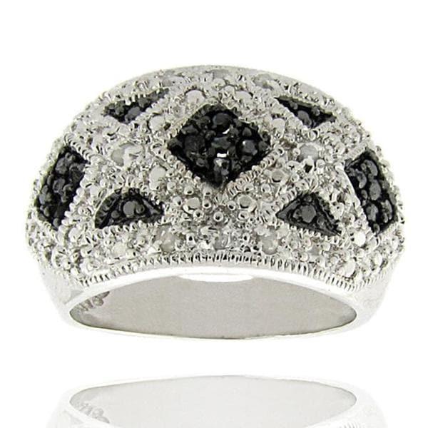 Sterling Silver 1/4ct TDW Black and White Diamond 'X' Ring (I-J,I2-I3)