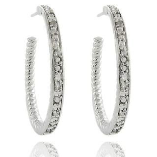 Finesque Sterling Silver 1/10ct TDW Diamond Hoop Earrings (I-J,I2-I3)