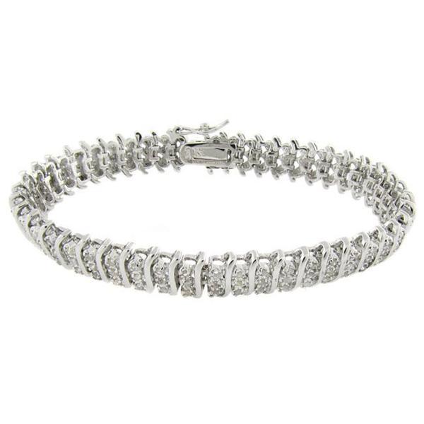 Finesque Sterling Silver 1/2 ct TDW Diamond 3-row 'S'-link Bracelet