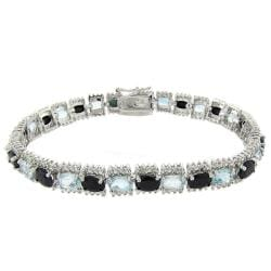 Dolce Giavonna Sterling Silver Sapphire, Blue Topaz, and Diamond Accent Line Bracelet