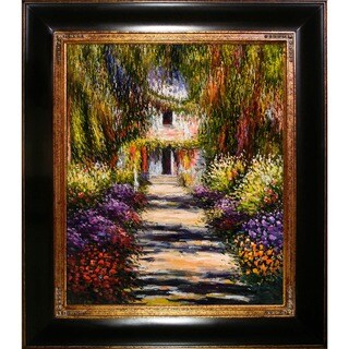 Monet 'Garden Path at Giverny' Hand-painted Canvas