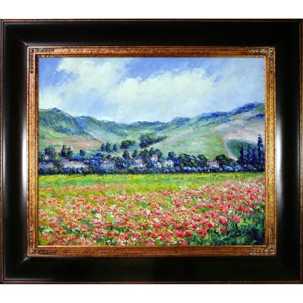 Monet 'Poppy Field near Giverny' Hand-painted Canvas